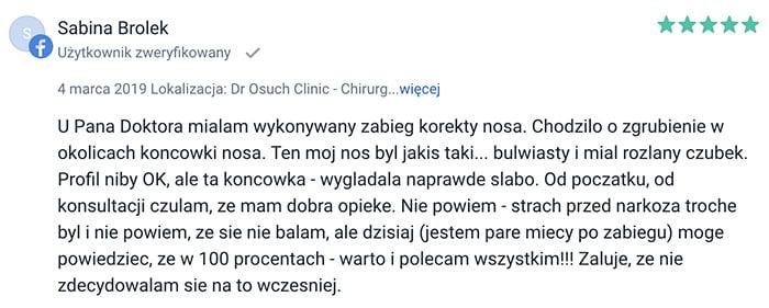Korekta czubka nosa klinika doktor Osuch opinie