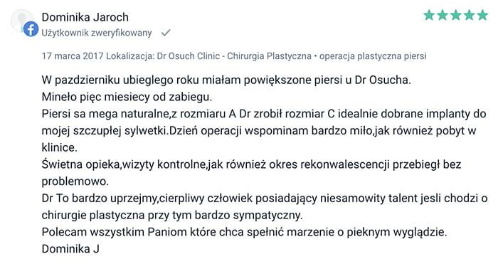 Powiększanie piersi implantami klinika doktor Osuch opinie