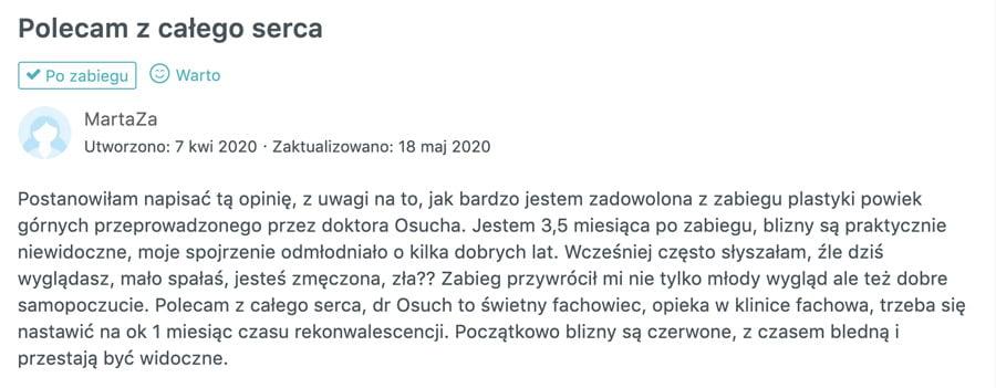 Plastyka powiek u dr Osucha - opinia